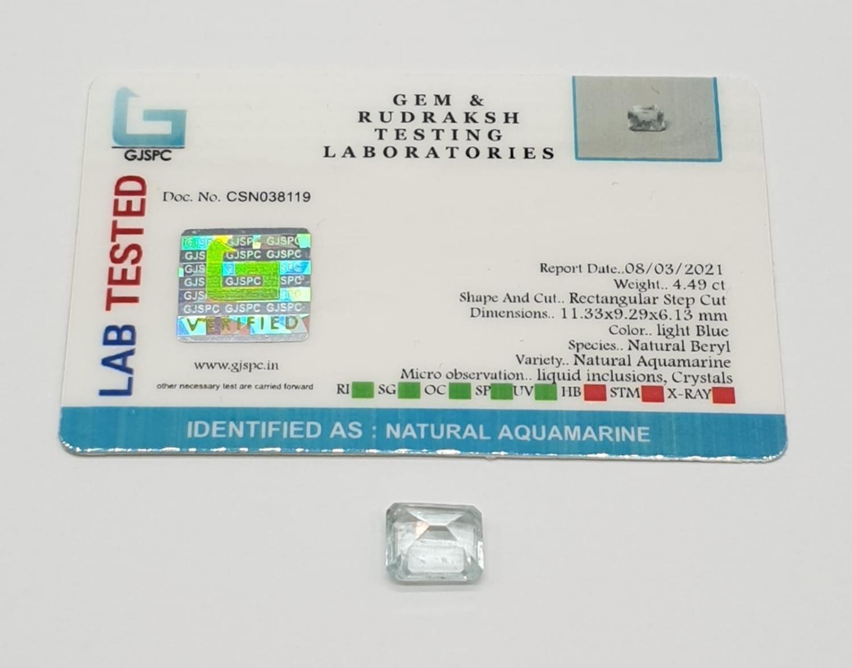 4.49ct Aquamarine gem GJSPC CERTIFIED - Image 3 of 3
