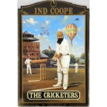 """A SMALL COLLECTABLE PUB SIGN OF """"THE CRICKETERS"""" 20 X 30CMS"""