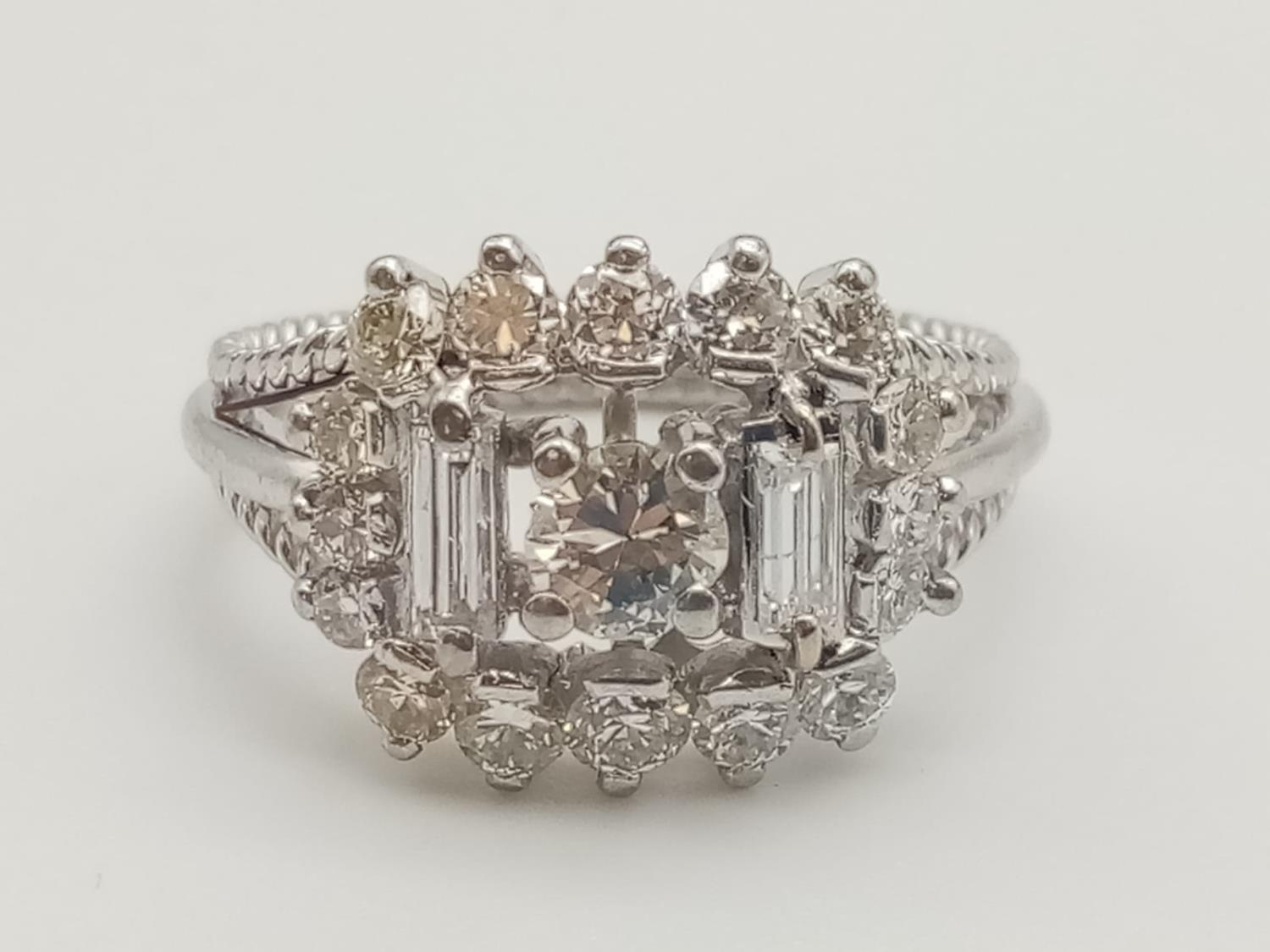 18k white gold diamond ring, WEIGHT 7.6G with over approx 2ct of top quality diamonds, size N1/2