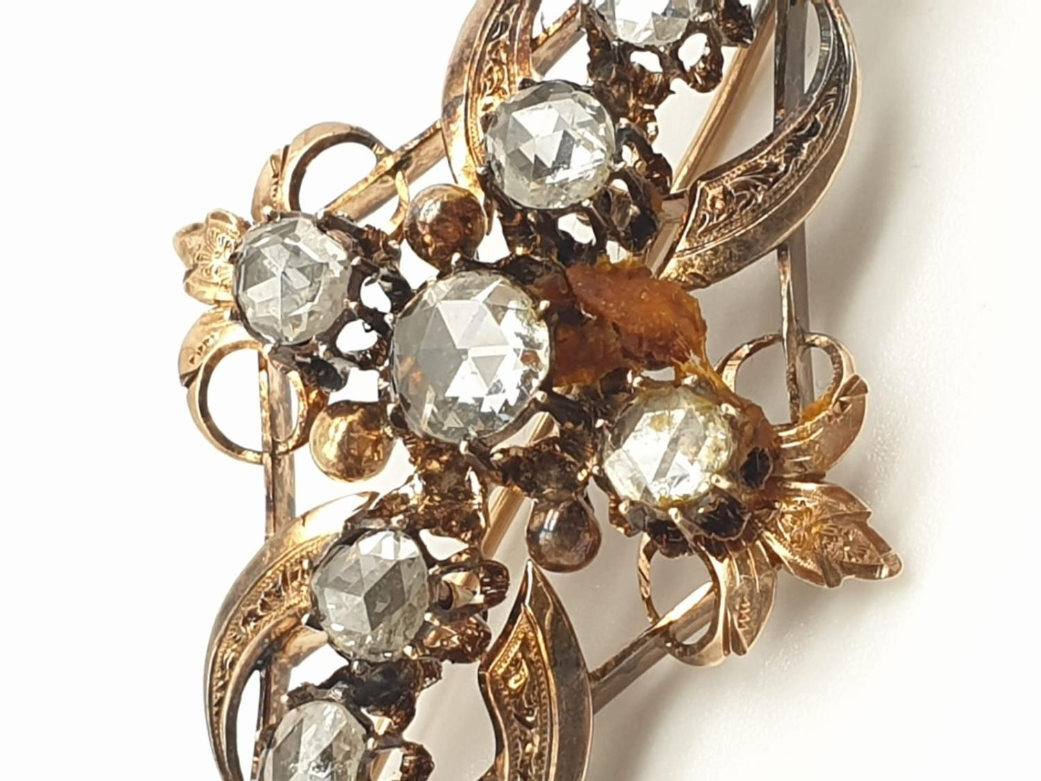Impressive Antique Edwardian rose gold brooch with over 3ct of rose diamonds, weight 9.1g and 7cm - Image 2 of 5