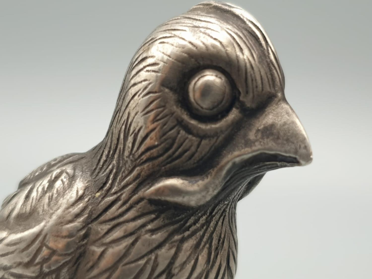 Russian silver and jade paperweight in the form of a canary bird in original box. 64.3gms 5.5cms - Image 4 of 9