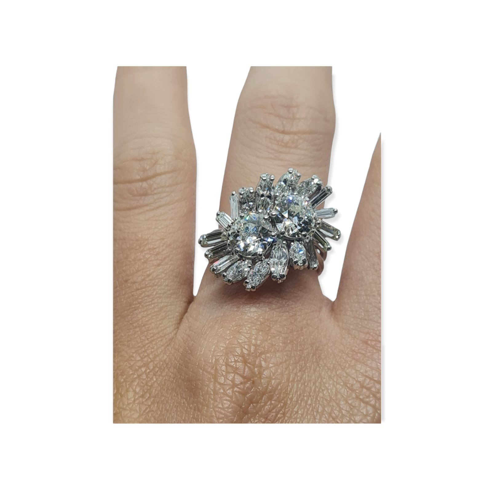 18k white gold diamond cluster ring with approx over 5ct diamonds in total, weight 10g and size M1/2 - Image 4 of 11