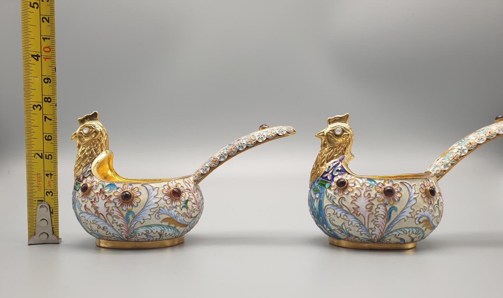 Pair of Russian 20th century silver enamel gemset kavosch bowl in the form of birds, an exquisite - Image 18 of 29