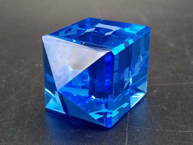 Vintage Blue Glass Dreidel in Original Box. - Image 5 of 6