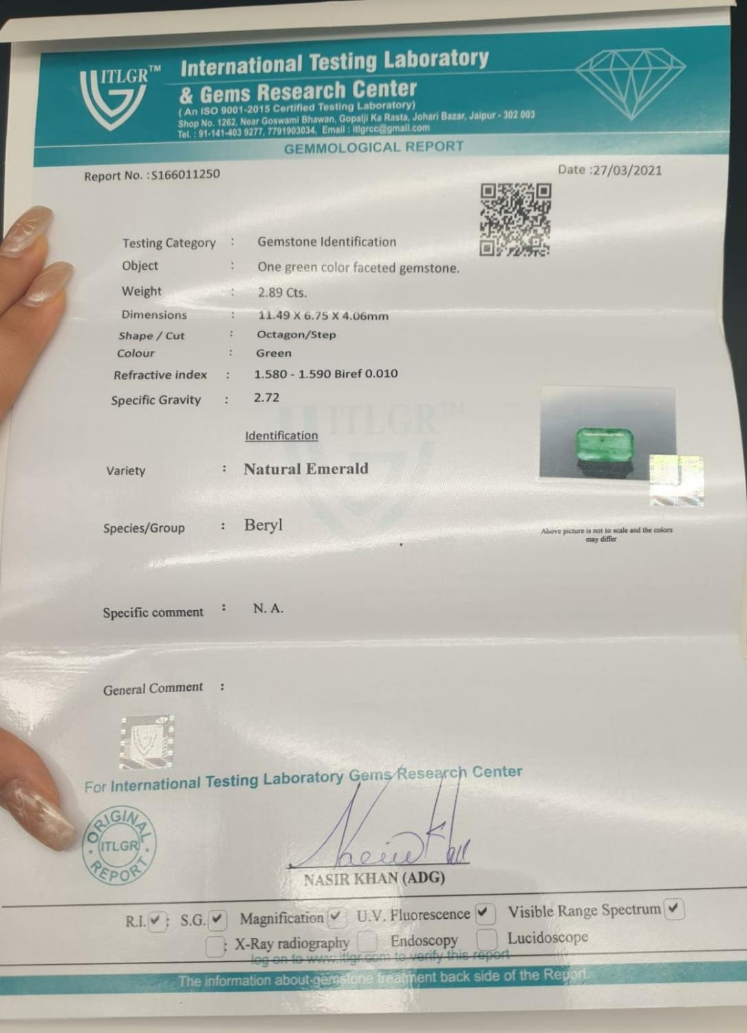 2.89ct octagonal emerald gemstone with original AnchorCert report and Safeguard valuation paper - Image 5 of 5