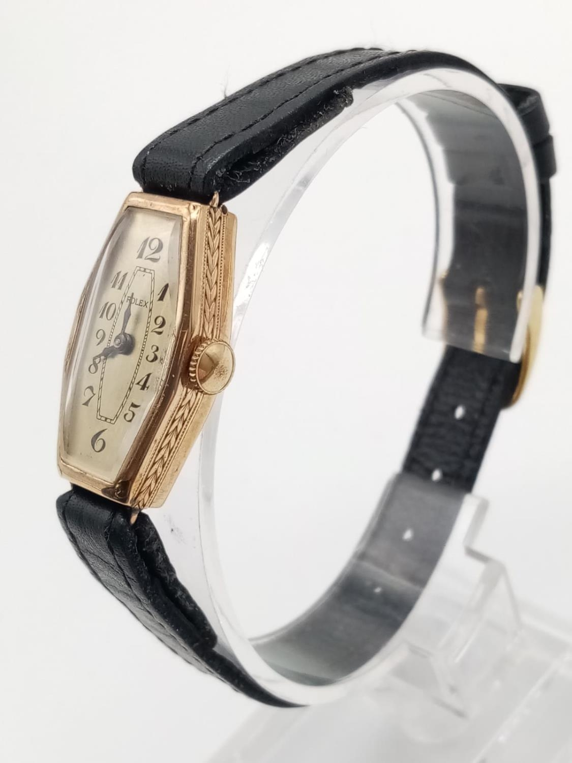 VINTAGE ROLEX 9K GOLD LADIES WRIST WATCH ON LEATHER STRAP. 16MM FWO - Image 2 of 6