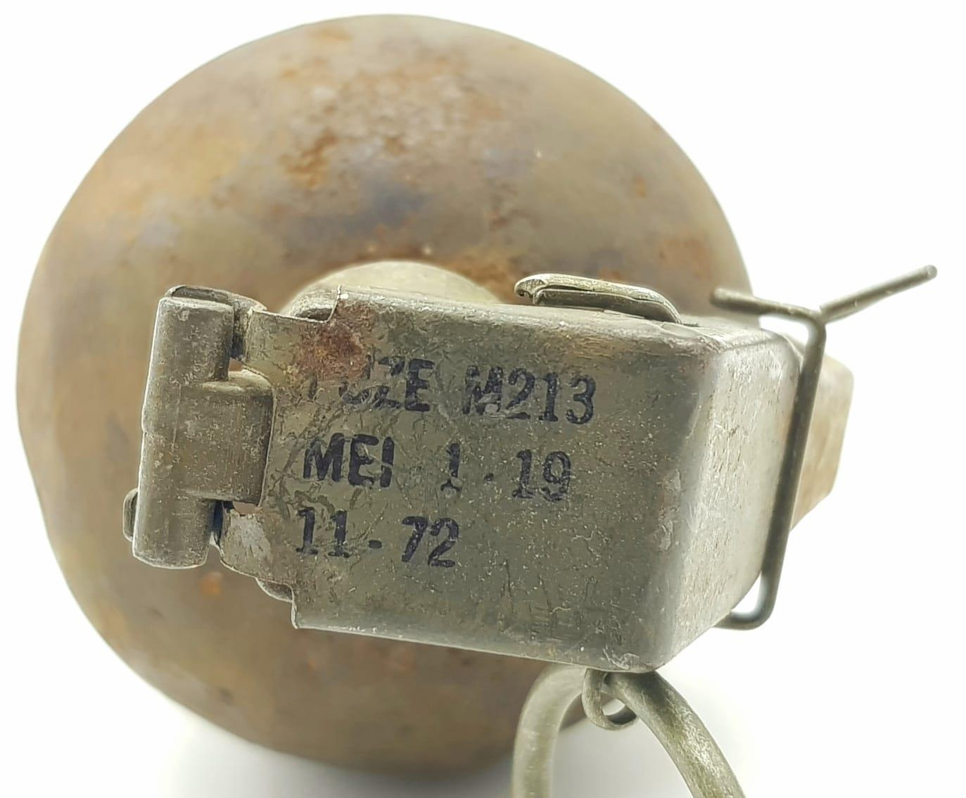 Vietnam War Era INERT US M.67 Grenade. The idea was that every all-American boy could throw a - Image 4 of 4