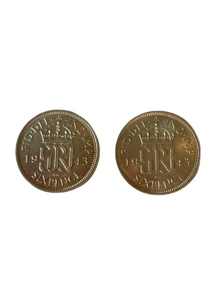 2 x 1943 UNCIRCULATED silver sixpences. Incredibly rare to find a pair of World War II ?TANNERS?