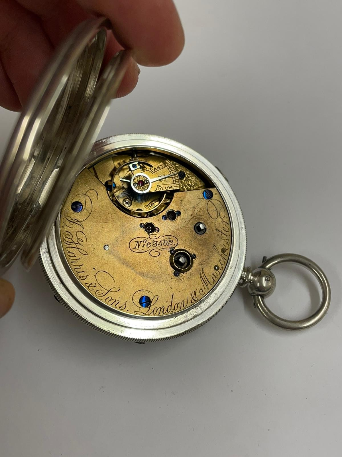 Antique Large silver stop seconds chronograph pocket watch J Harris & sons London & Manchester , - Image 4 of 10