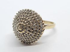 9K YELLOW GOLD VINTAGE DIAMOND CLUSTER RING WEIGHT 5.5G SIZE O