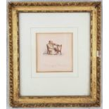 Antique Satirical Small Painting/Illustration Entitled: Chairing a Member. In Frame - 17 x 20cm