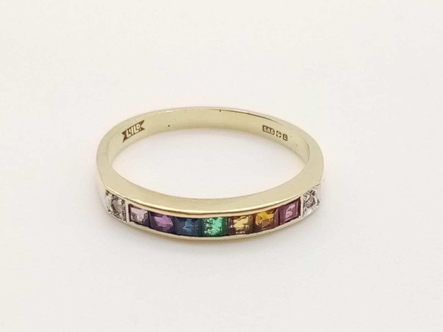 14k yellow gold vintage half eternity ring with multi colour gemstones, weight 1.7g and size K