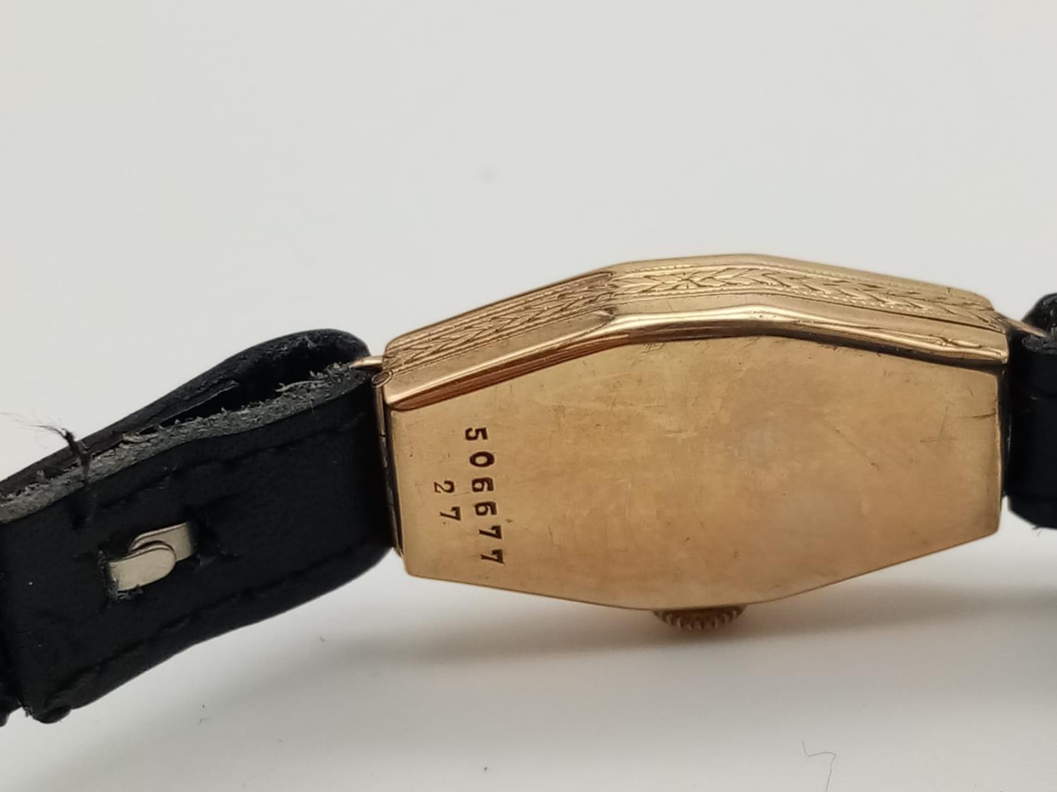 VINTAGE ROLEX 9K GOLD LADIES WRIST WATCH ON LEATHER STRAP. 16MM FWO - Image 5 of 6