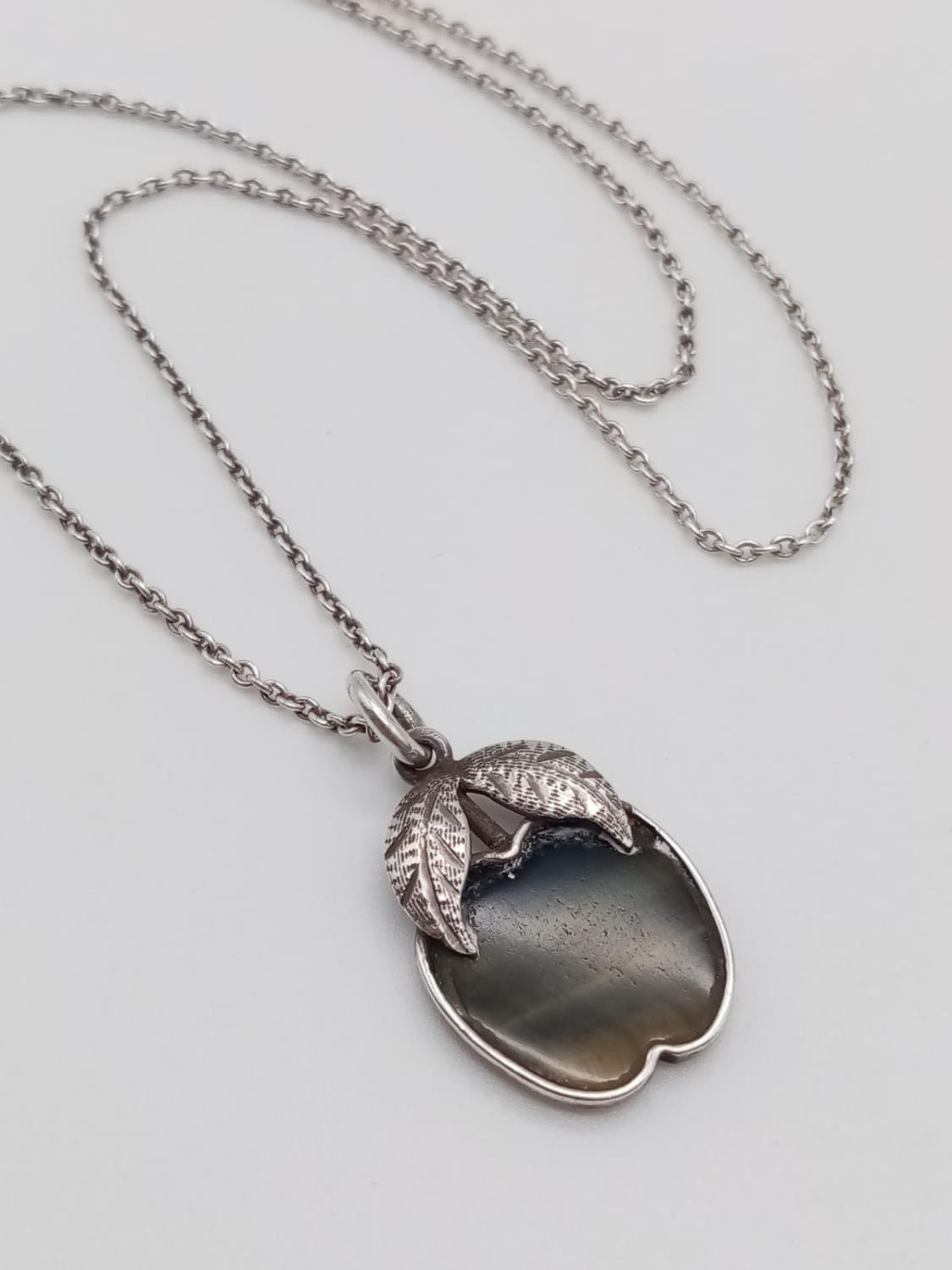 Vintage sterling silver apple pendant necklace in box - Image 2 of 7