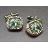 Russian 14k gold and diamond nephrite jade elephant cufflinks . 15.1gms