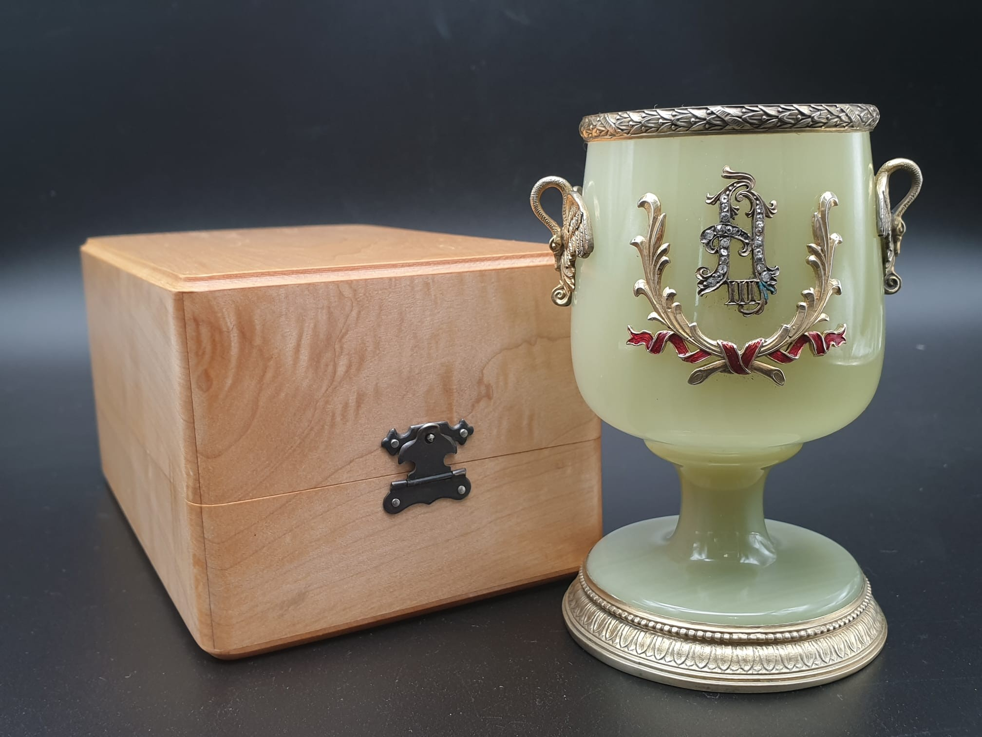 Russian silver gilt enamel diamond and jade large goblet cup in original box. 269.4gms 11cms in - Image 2 of 15