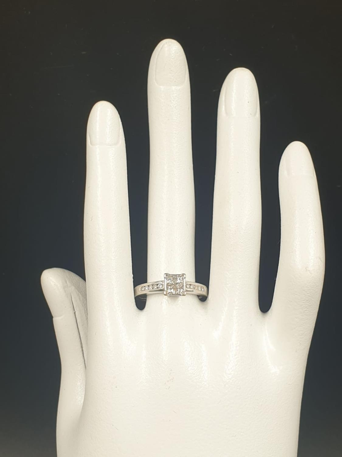 18K WHITE GOLD DIAMOND CLUSTER RING APPROX 0.45CT DIAMONDS WEIGHT 4.5G SIZE Q - Image 6 of 6