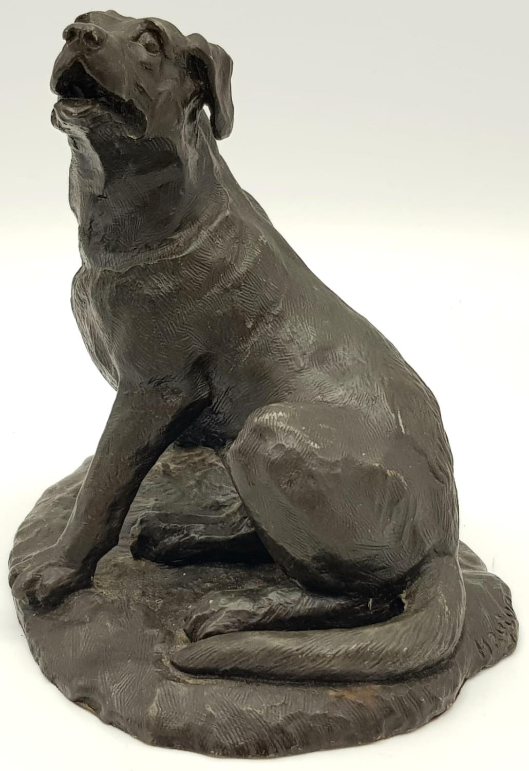 A BRONZE FIGURE OF A SITTING DOG. 767gms 14cms tall. - Image 2 of 5