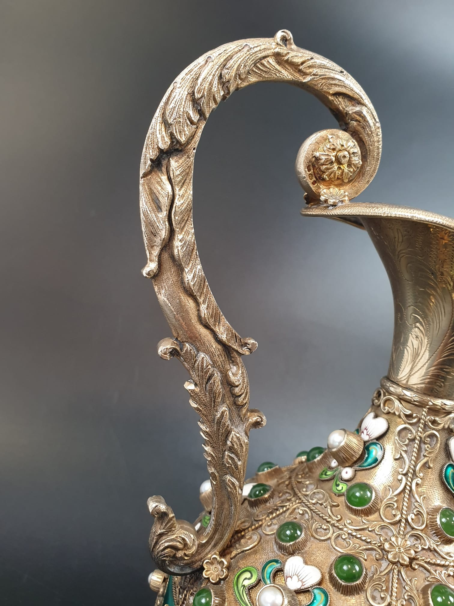 Antique Austrian silver gilt pearl and jade large jug, hand decorated and engraved . 857gms 23 cms. - Image 5 of 15
