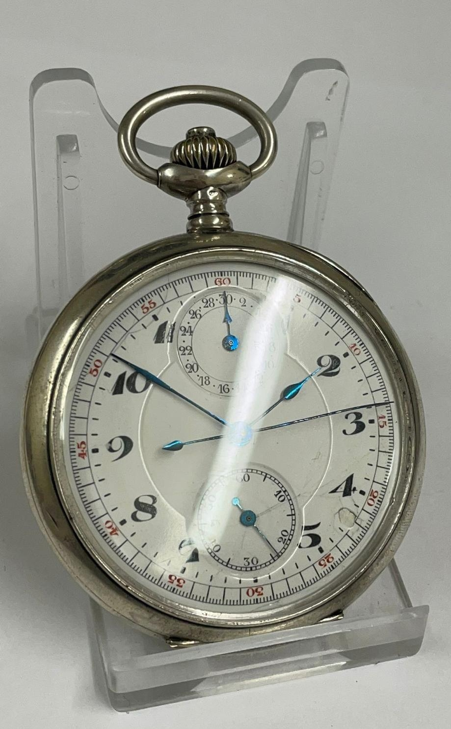 Vintage Silver Chronograph Pocket Watch. Working & Stop Function are working but sold with no