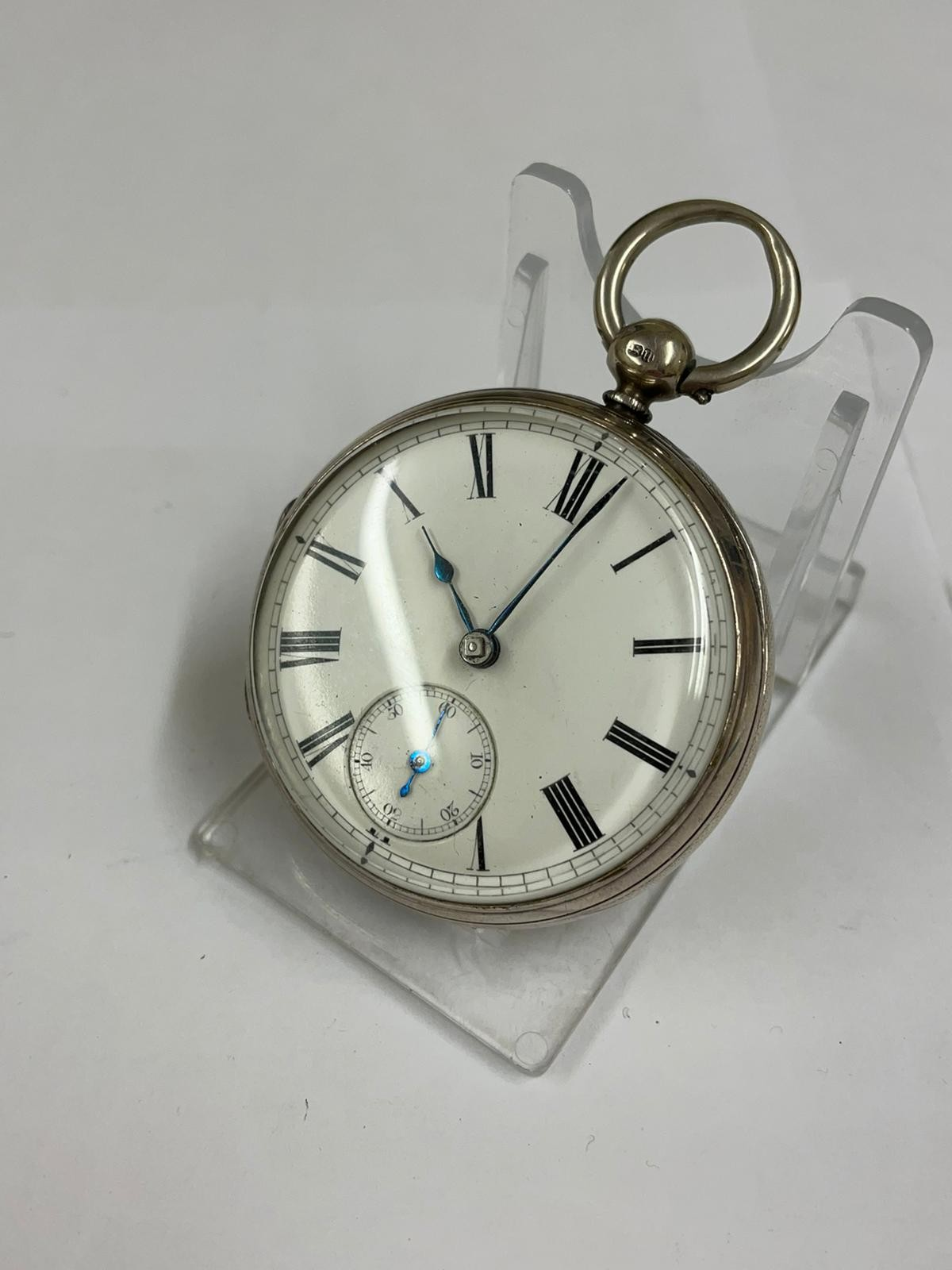 Antique gents silver fusee ( mercer London ) pocket watch no key tick if shaken sold as found - Image 4 of 6