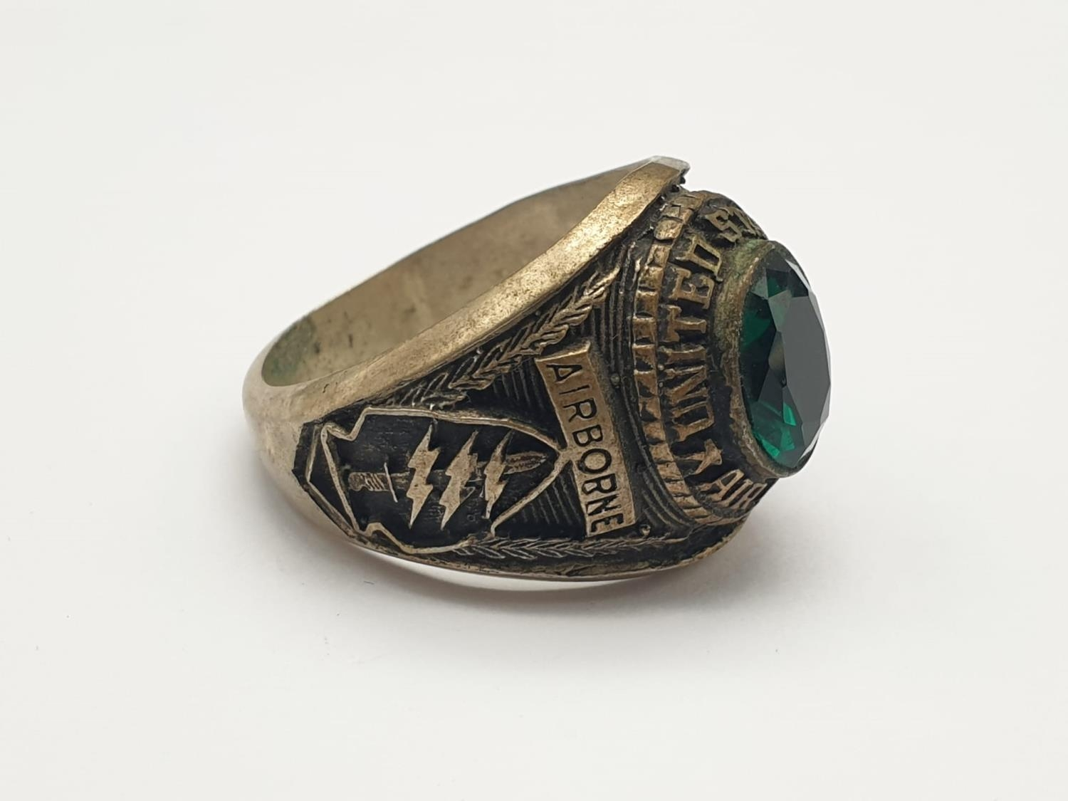 Vietnam War Era White Metal Special Forces Class Ring. UK Size X, US Size 11 ¾. - Image 2 of 6