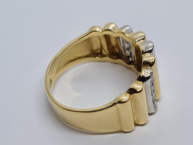 18K YELLOW DIAMOND BAND RING WEIGHT 5.5G SIZE L - Image 3 of 5
