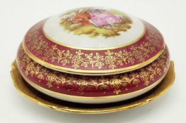 Meissen lidded pot and small ceramic dish decorated by Limoges France
