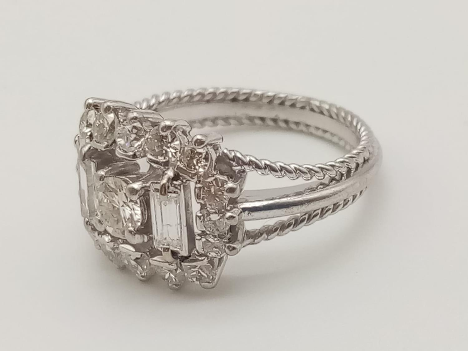 18k white gold diamond ring, WEIGHT 7.6G with over approx 2ct of top quality diamonds, size N1/2 - Image 2 of 6
