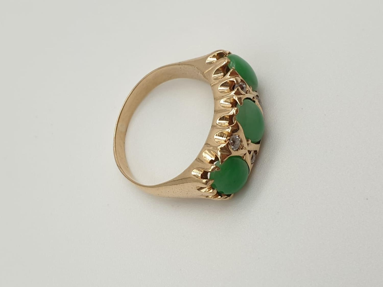 14k yellow gold antique ring with trilogy green jadeite and decorated with diamonds, weight 8.6g and - Image 3 of 6