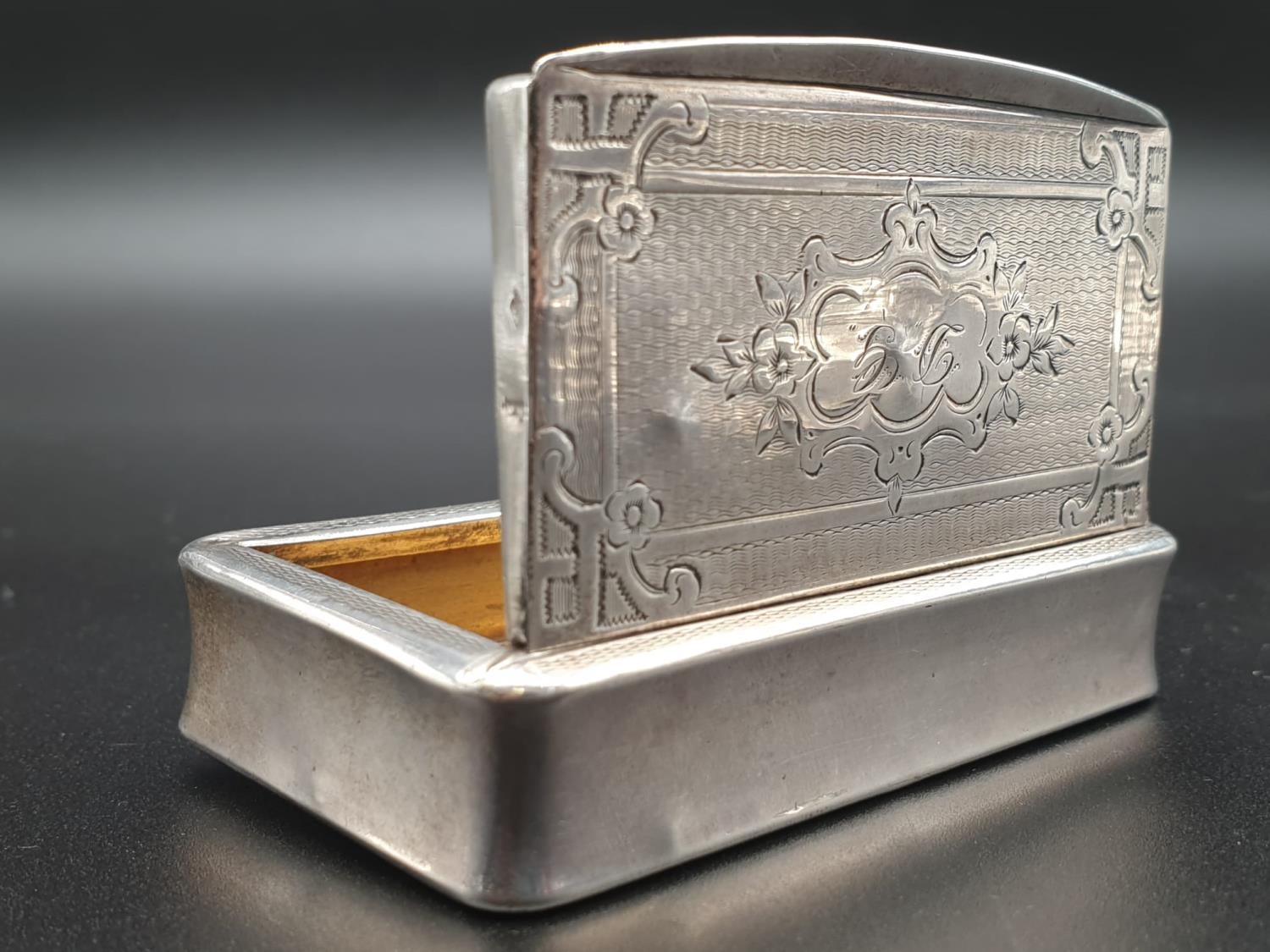 Antique French Gilt Solid Silver 1880s Snuff Box. 7.8cm x 4.5. 54.5g - Image 6 of 9