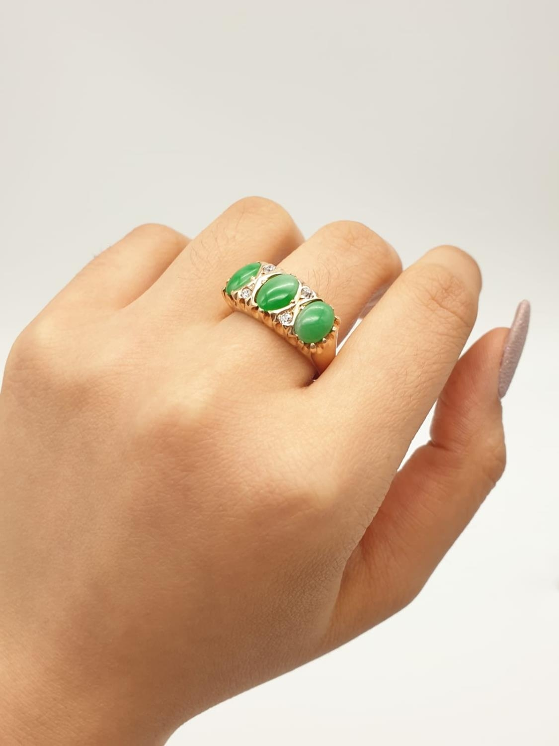 14k yellow gold antique ring with trilogy green jadeite and decorated with diamonds, weight 8.6g and - Image 6 of 6