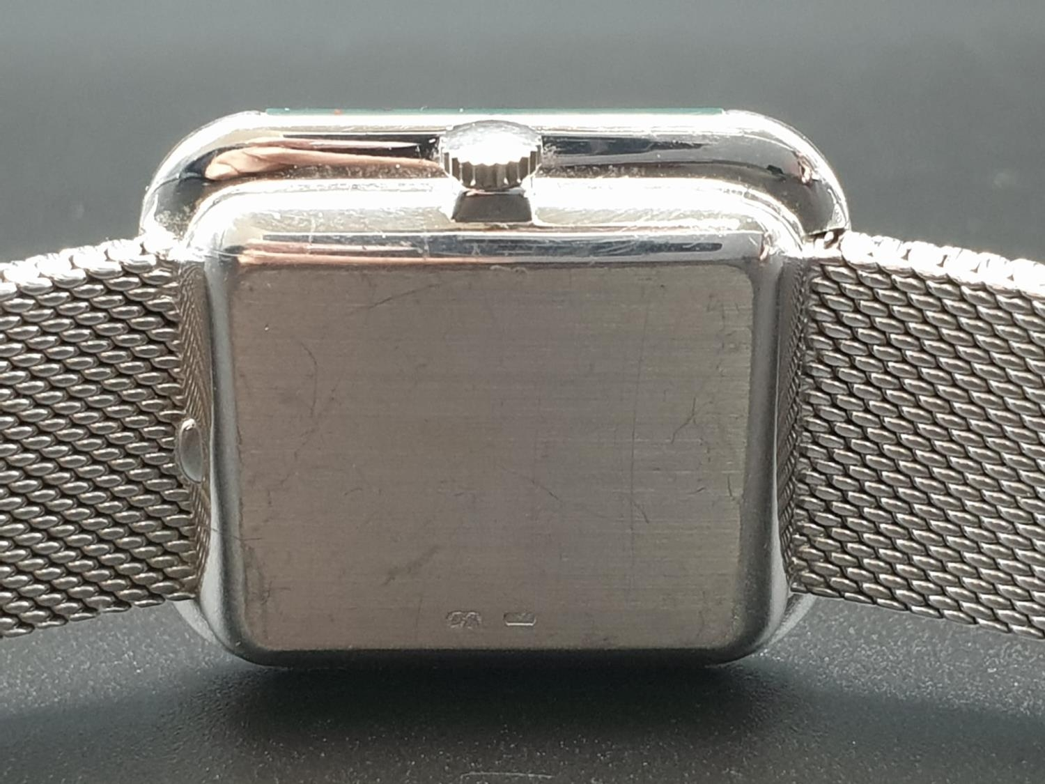 AN 18K WHITE GOLD DRESS WATCH WITH HALF DIAMOND BEZEL AND SOLID GOLD STRAP. 26MM - Image 10 of 12
