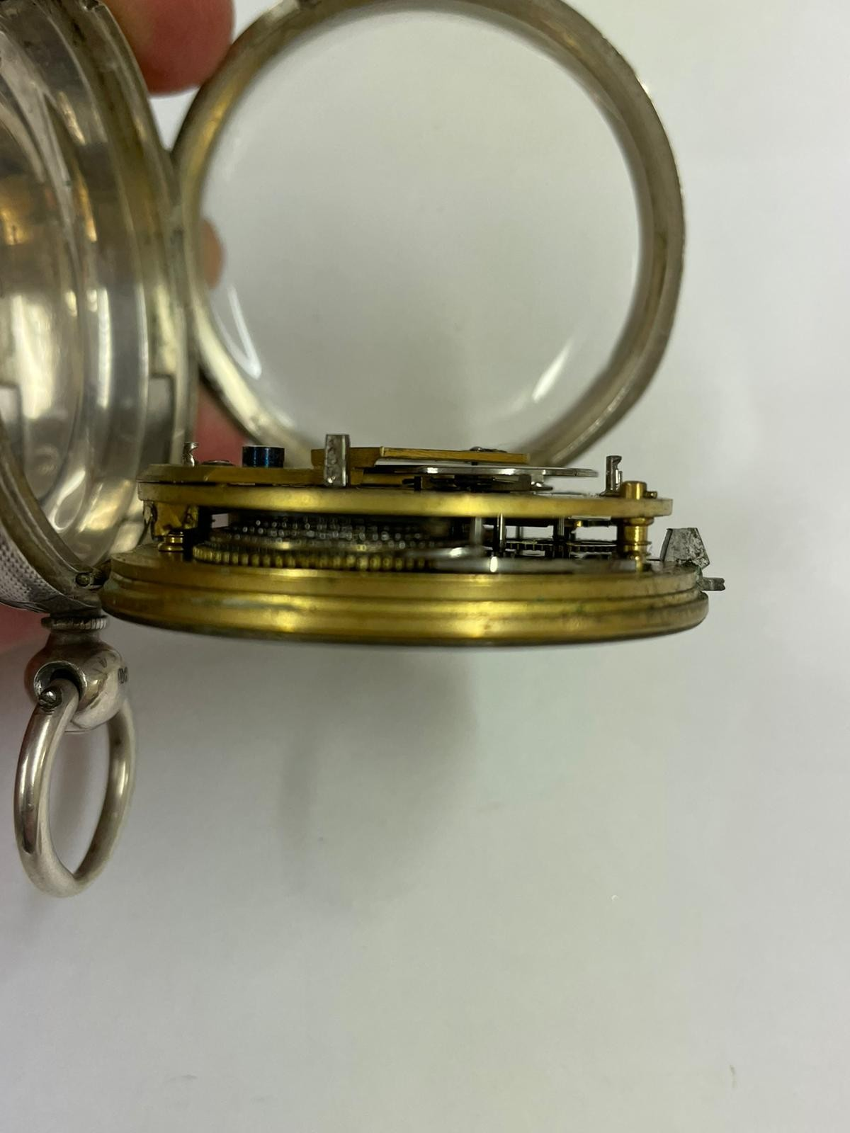 Antique gents silver fusee ( mercer London ) pocket watch no key tick if shaken sold as found - Image 3 of 6