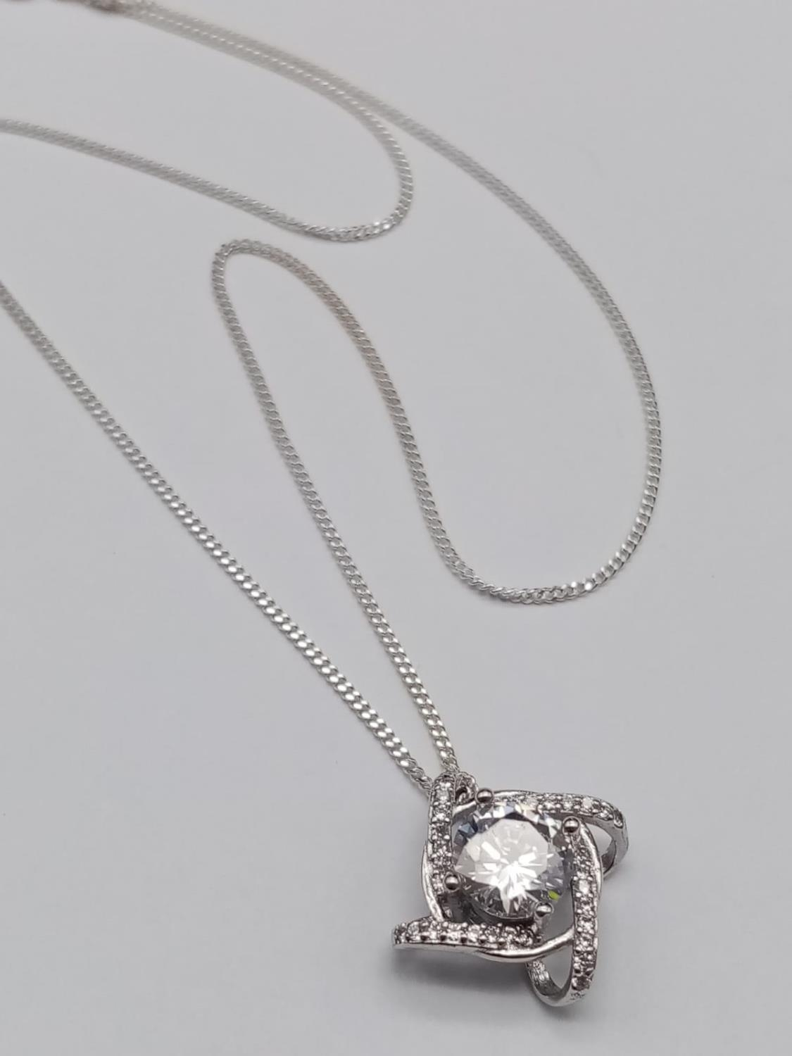 Sterling Silver Stone Set Pendant Necklace on sterling Silver Chain in presentation box. 36cm. 3g