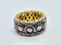 Stunning Gold Plated silver full eternity Diamond Ring with 1.63ct of Diamonds, weight 12.7g and