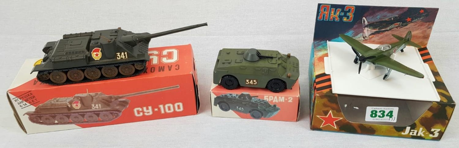 Three Metal Russian Military Model Toys. Made in Russia - Two Tanks and an Aircraft. As New, in