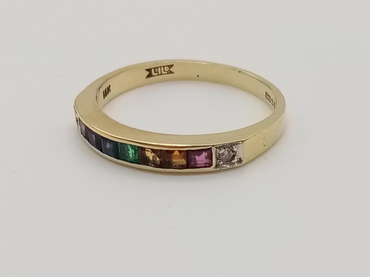 14k yellow gold vintage half eternity ring with multi colour gemstones, weight 1.7g and size K - Image 2 of 7