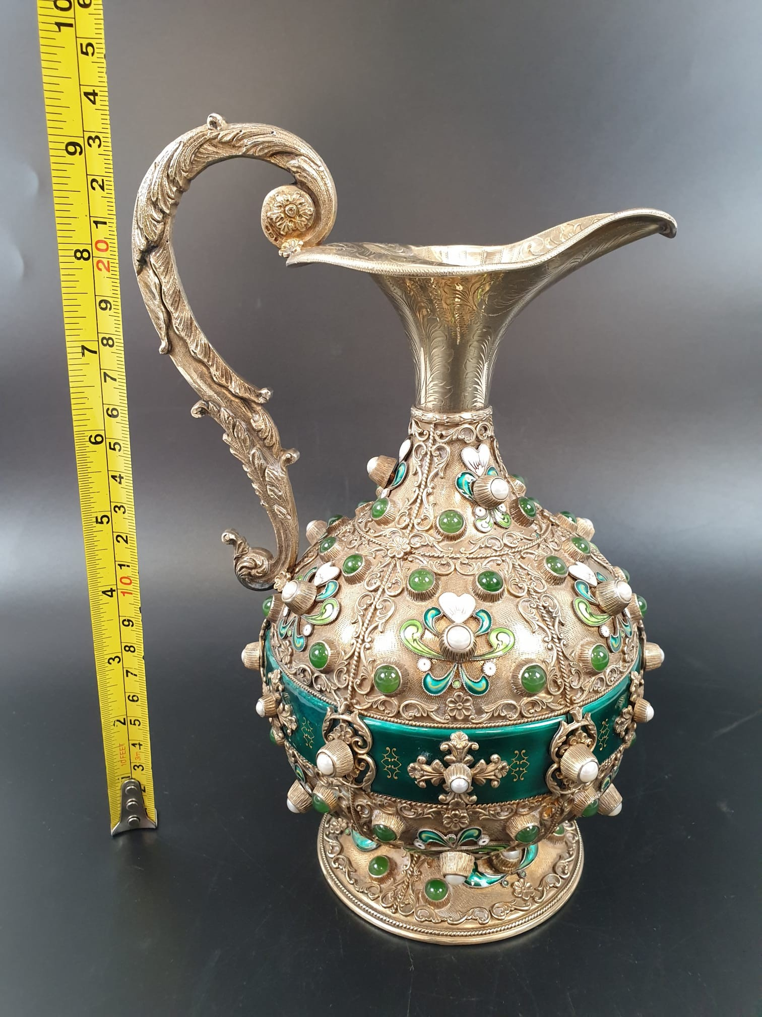 Antique Austrian silver gilt pearl and jade large jug, hand decorated and engraved . 857gms 23 cms. - Image 4 of 15
