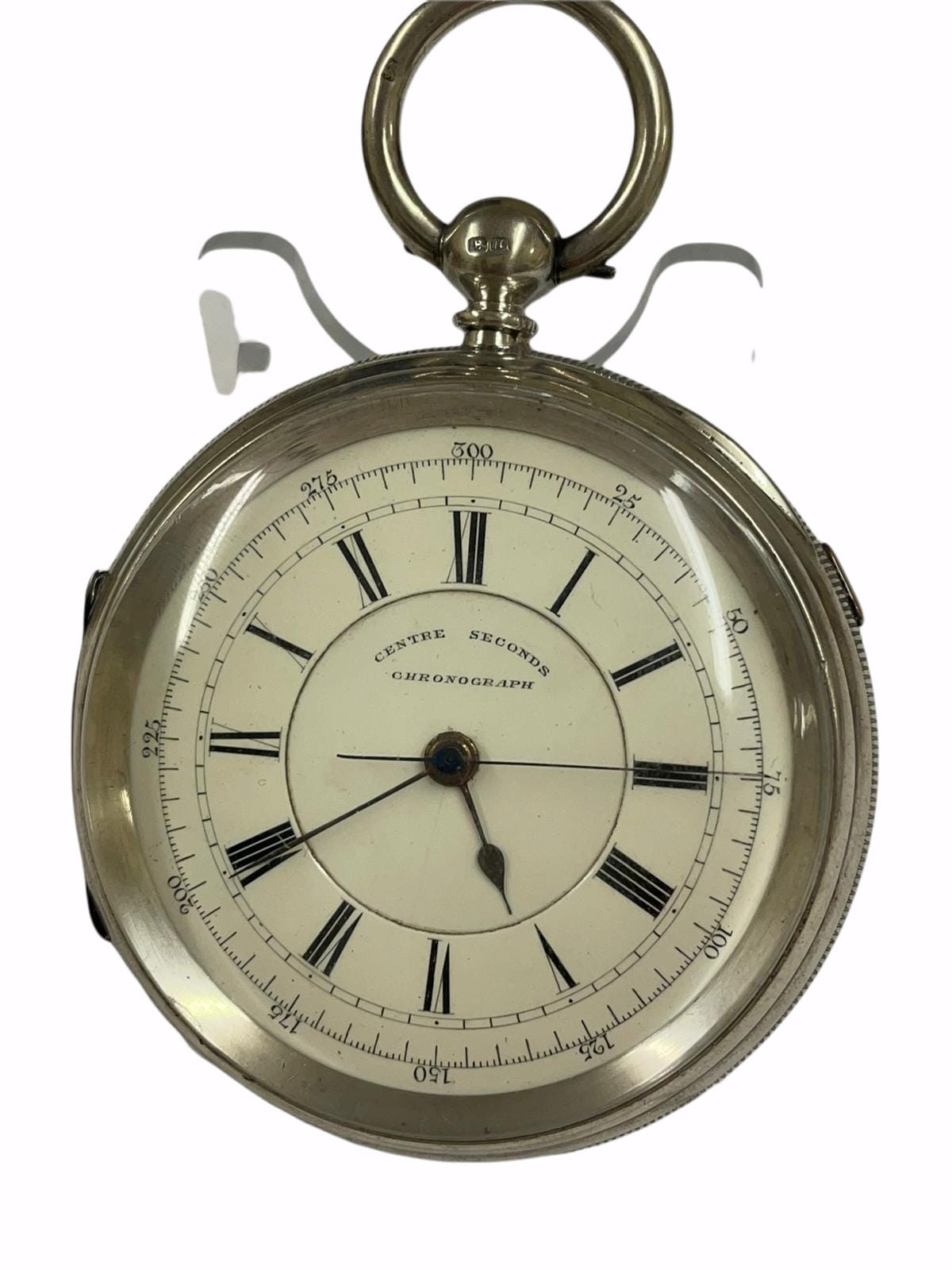 Antique Large silver stop seconds chronograph pocket watch J Harris & sons London & Manchester ,