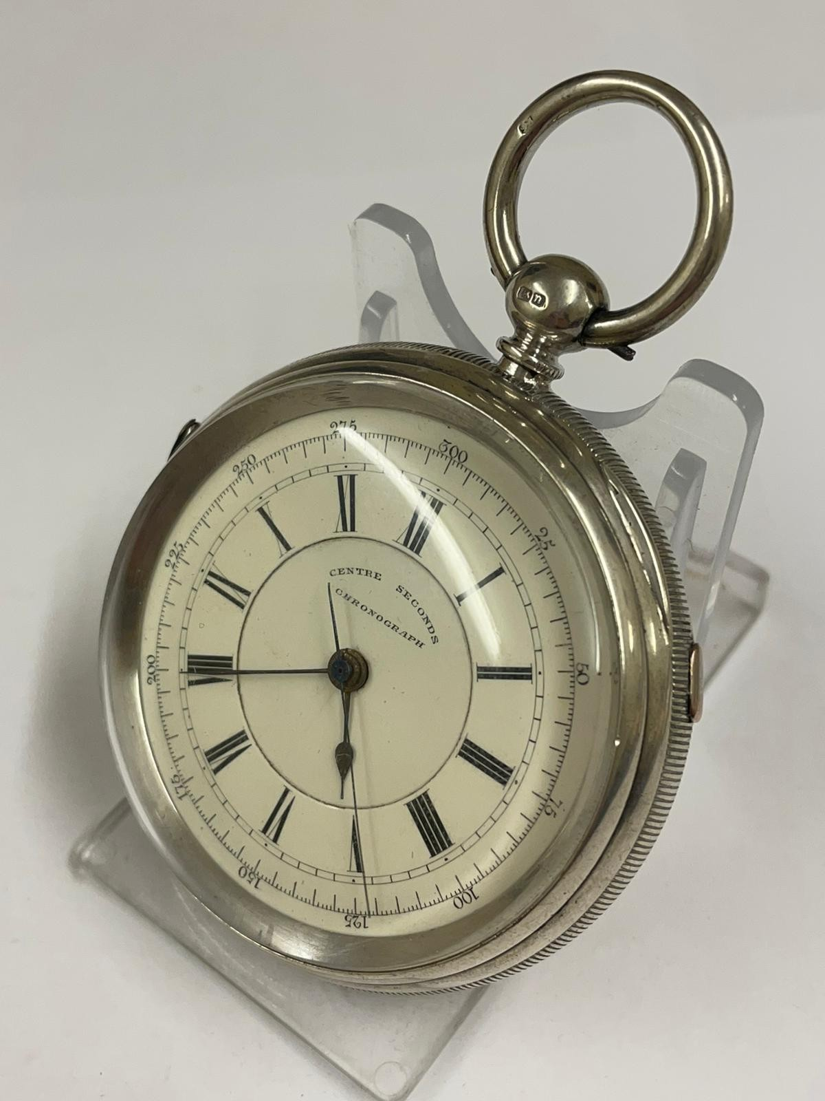 Antique Large silver stop seconds chronograph pocket watch J Harris & sons London & Manchester , - Image 2 of 10