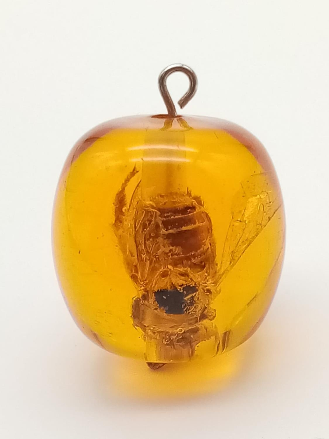 Large amber pendant with bee inside