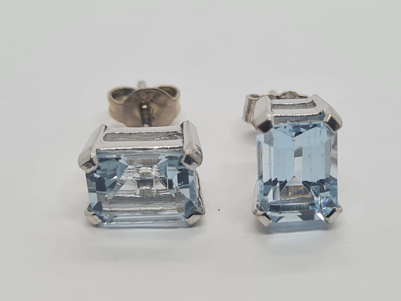 Pair of aquamarine stud earrings set in 18k white gold, weight 3.3g
