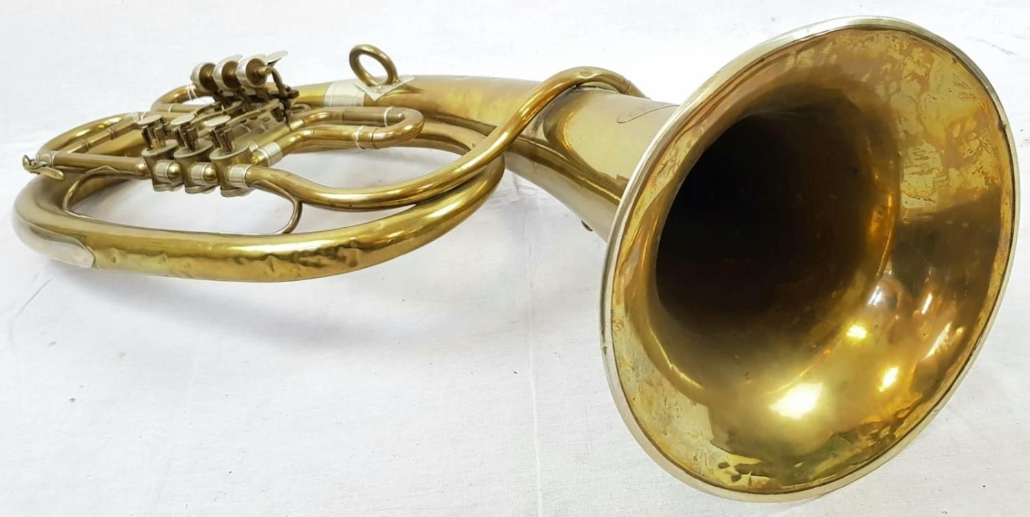 A VINTAGE CZECH MADE BRASS TUBA (A FEW DENTS BUT GOOD WORKING ORDER) total length 78cms - Image 3 of 4