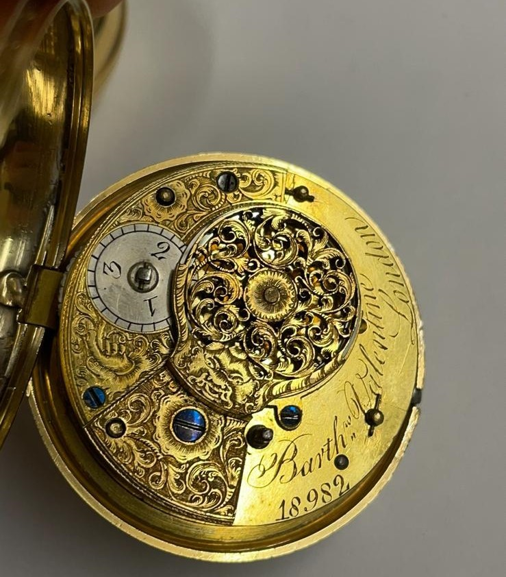 Antique gilt verge fusee pocket watch , working but sold with no garantees 147.8g - Image 7 of 12