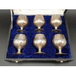 Six Vintage White Metal Miniature Goblets in a presentation box. 6cm tall
