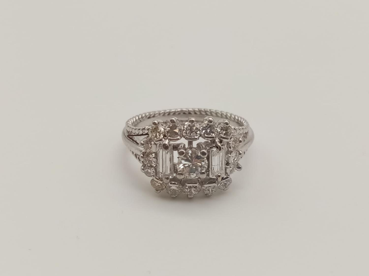 18k white gold diamond ring, WEIGHT 7.6G with over approx 2ct of top quality diamonds, size N1/2 - Image 4 of 6