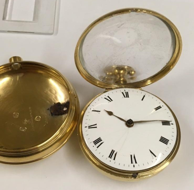 Antique gilt verge fusee pocket watch , working but sold with no garantees 147.8g - Image 5 of 12