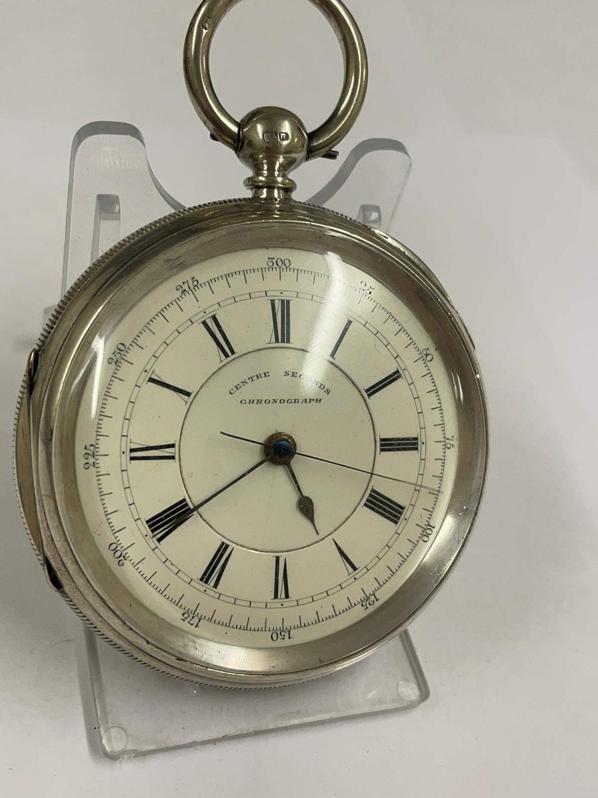 Antique Large silver stop seconds chronograph pocket watch J Harris & sons London & Manchester , - Image 3 of 10