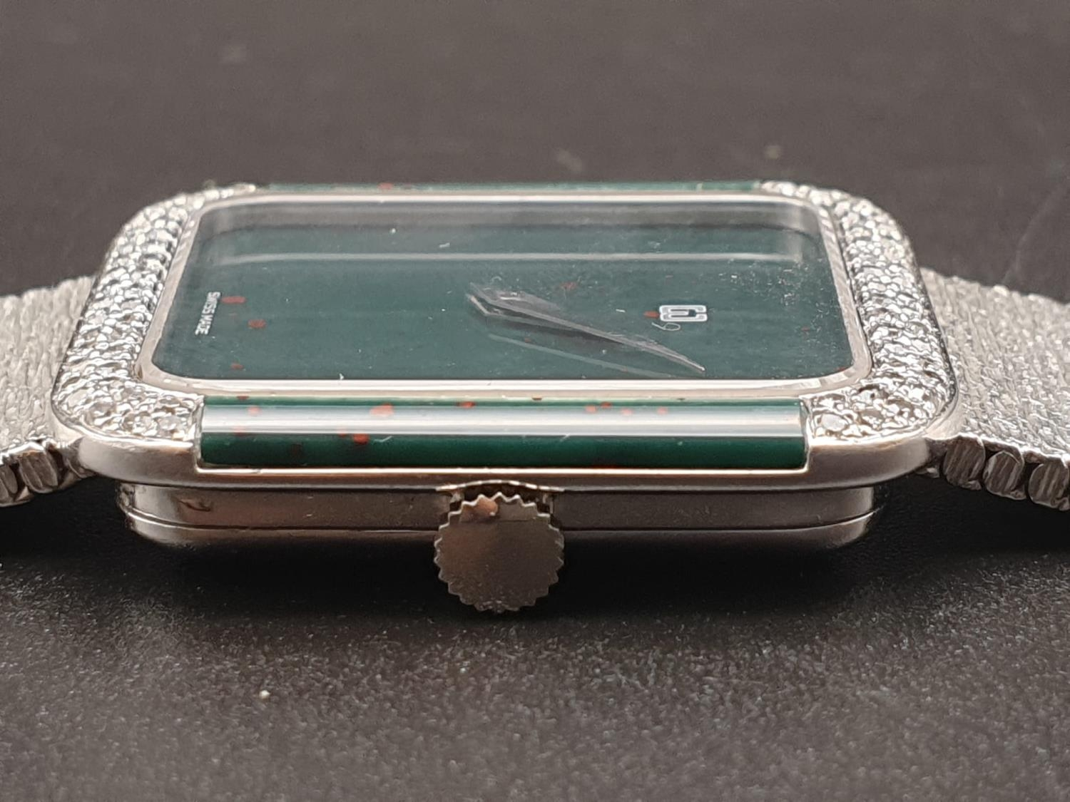 AN 18K WHITE GOLD DRESS WATCH WITH HALF DIAMOND BEZEL AND SOLID GOLD STRAP. 26MM - Image 12 of 12